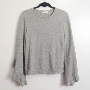 A.L.C Camden Crewneck Bell-sleeve Sweater XS Gray